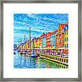 Nyhavn In Denmark Painting Framed Print