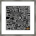 Oklahoma State College Colors Subway Art Framed Print