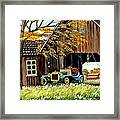 Old Barn And Old Car Framed Print