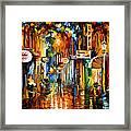 Old City Street - Palette Knife Oil Painting On Canvas By Leonid Afremov Framed Print