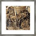 Old Farm Tractor In Sepia 1 Framed Print