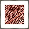 Old Red Wooden Wall In Sunlight Framed Print