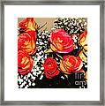 Orange Apricot Roses With Oil Painting Effect Framed Print