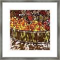 Oranges And Flowers Framed Print