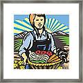 Organic Farmer Farm Produce Harvest Retro Framed Print by Aloysius Patrimonio
