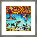 Original Coastal Surfing Whimsical Fun Painting Tropical Serenity By Madart Framed Print