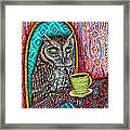 Owl At The Cafe Framed Print by Jay  Schmetz