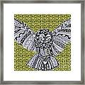 Owl In Flight Green Framed Print