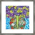 Painted Vase With Hydrangeas Framed Print by Deborah Glasgow