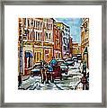 Paintings Of Old Port Quebec Vieux Montreal Memories Rue Notre Dame Snowscenes Art Carole Spandau Framed Print