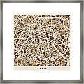 Paris France Street Map Framed Print