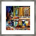 Paris-recruitement Cafe - Palette Knife Oil Painting On Canvas By Leonid Afremov Framed Print