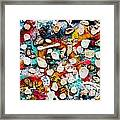 Part Of Berlin Wall With Graffiti And Chewing Gums  Framed Print