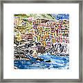 Pastel Patchwork Village Framed Print
