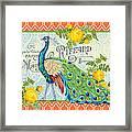 Peacocks In The Rose Garden-3 Framed Print