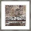 Pedestrian Bridge In The Snow Framed Print