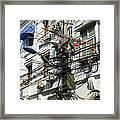 Phone Lines And Laundry Framed Print
