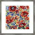 Picket Fence Poppies Framed Print