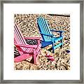 Pink And Blue Beach Chairs With Matching Flip Flops Framed Print