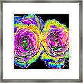 Pink Roses With Colored Foil Effects Framed Print
