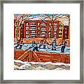 Pointe St. Charles Hockey Rink Southwest Montreal Winter City Scenes Paintings Framed Print