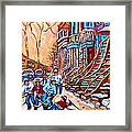 Pointe St.charles Hockey Game Near Winding Staircases Montreal Winter City Scenes Framed Print