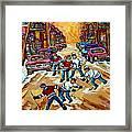 Pointe St.charles Hockey Game Winter Street Scenes Paintings Framed Print