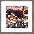 Pond Hockey Birch Tree And Mountain Framed Print