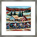 Pond Hockey Game In The Country Framed Print