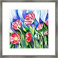 Poppies Field Square Quilt  Framed Print