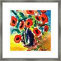 Poppies In A Vase Framed Print