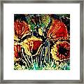 Poppies In Gold Framed Print by Zaira Dzhaubaeva