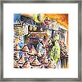 Pottery Seller In Essaouira Framed Print