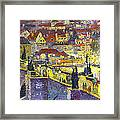 Prague Violet Panorama Night Light Charles Bridge Framed Print by Yuriy Shevchuk