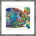 Puffer Fish Art - Puff Love - By Sharon Cummings Framed Print
