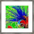 Puffy Bloom W Bee In Rainbow Framed Print