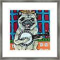 Pug Playing Banjo Framed Print by Jay  Schmetz
