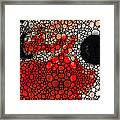 Pure Passion 2 - Stone Rock'd Red And Black Art Painting Framed Print by Sharon Cummings