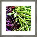 Purple And Green String Beans Framed Print