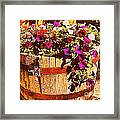 Purple Flowers In Rusty Bucket Framed Print