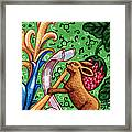 Rabbit Plays The Flute Framed Print