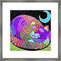 Rainbow Cat Blue Moon Framed Print