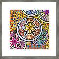 Rainbow Mosaic Circles And Flowers Framed Print