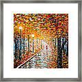Rainy Autumn Day Palette Knife Original Framed Print