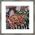 Red And Green Tortoise On Their Way To Bush Framed Print