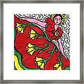Red Dress With Yellow Roses Framed Print