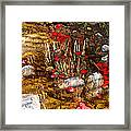Red Flower Petals In Creek In Lower Palm Canyon In Indian Canyons Near Palm Springs-california Framed Print