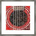 Red Guitar - Digital Painting - Music Framed Print