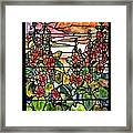 Stained Glass Tiffany Red Hollyhocks In Landscape In Watercolor Framed Print