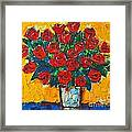 Red Passion Roses Framed Print by Ana Maria Edulescu